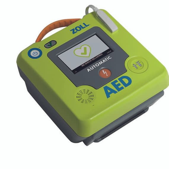 The ZOLL AED 3® fully automatic defibrillator leads the way with Real CPR Help® technology that provides real-time feedback to guide rescuers in delivering high-quality CPR. High-resolution colour Touchscreen LCD display with easyto-follow graphics Programme Management, Real CPR Help® providing real-time visual and audible feedback on the rate and depth of chest compressions. The immediate initiation of CRP can double or quadruple survival from