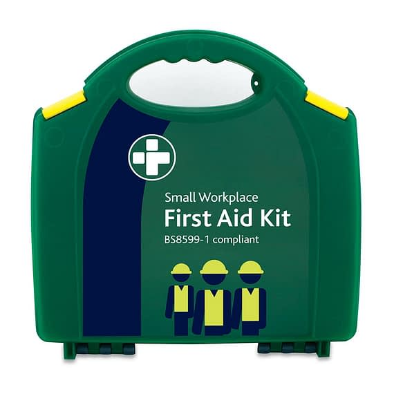 Small deluxe home and workplace First Aid Kit. Conforms to the BS-8599-1 British Standards specifications for First Aid Kits.