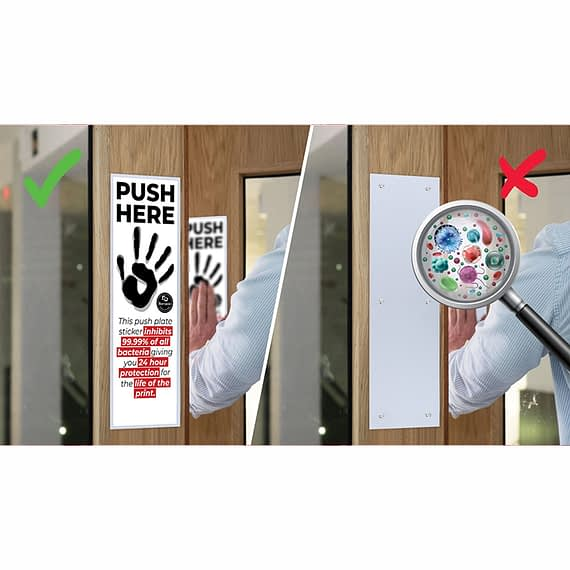 Door Push Plate stickers are an affordable way to cover all your metal push plates in the building keeping your staff, clients, pupils and patients safe.