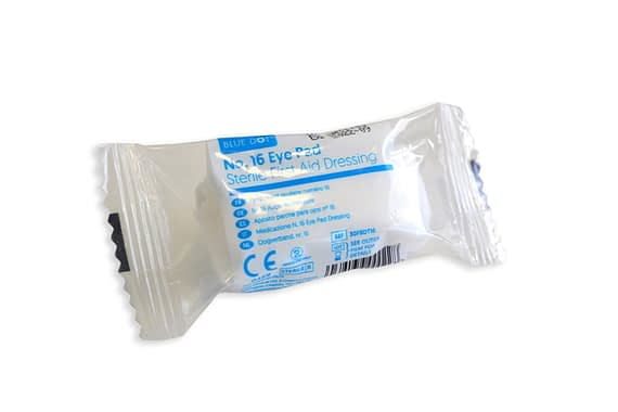 Blue Dot Boxed Eye Pad & Bandage No16 pack of 5 Key features Sterile low adherent pad extra long fast edged conforming bandage.
