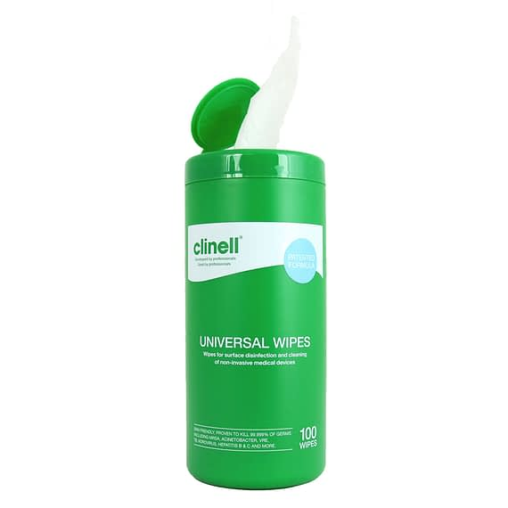 Hand Wipes Clinell Universal - Tub of 100Clinell Universal Hand Wipes are effective against the COVID-19 virus in 30 seconds.Clinell Sporicidal Wipes are proven effective against coronavirus in 60 seconds.