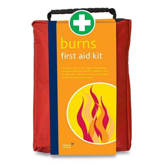 Burn Treatment First Aid Kit (Stockholm Bag) Burn First Aid Kit in Red Stockholm Bag Essential emergency burn treatment comes in a red soft material bag. Multiple compartments, fully zipped. Ideal for use in the kitchen, canteen, bakery.