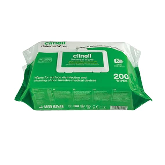 Case of 6 Clinell Universal Wipes (Pack of 200) kills 99.99% of germs