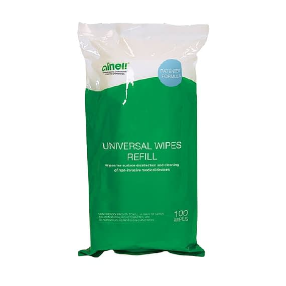 Clinell Universal antibacterial Wipes - 100 wipe Refill pack The Clinell range of Universal Wipes are a single use disinfectant product, clinically proven for surface disinfection and cleaning of non-invasive medical devices. From disinfecting objects to wiping down hard surfaces and equipment, a Clinell universal wipe will kill at least 99.999%* of germs, making Clinell antibacterial wipes the most effective antimicrobial product on the market. This revolutionary formula contains several different biocides. Each biocide has a different mechanism of action, reducing the risk of germs developing resistance.