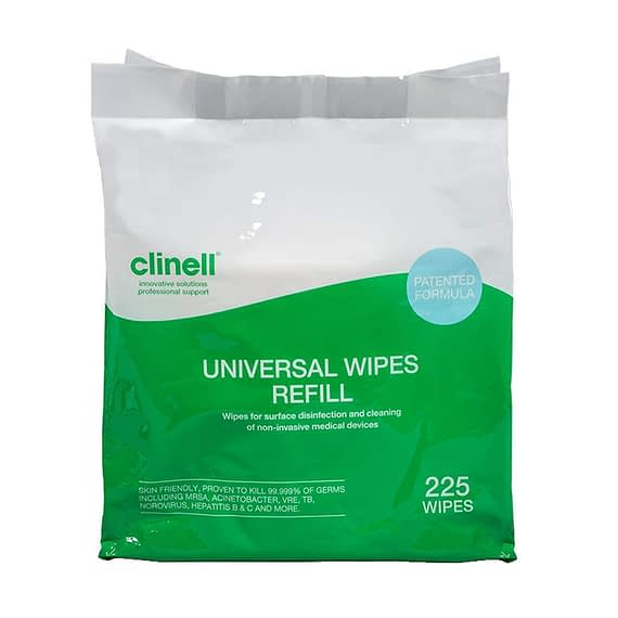 Clinell Universal Wipes 225 Bucket (Refill Pack) Effective against the Covid19 virus in 30 seconds Antimicrobial Hand Wipes proven to kill at least 99.999% of germs, the formula remains gentle enough to be used on skin