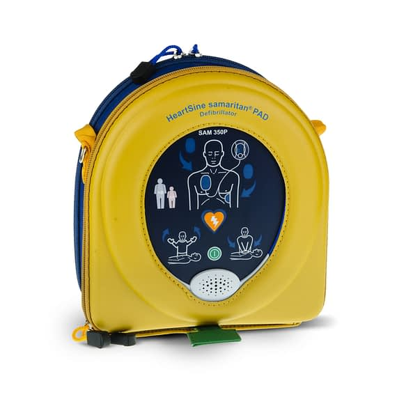 Samaritan PAD 350P Semi-Automatic Defibrillator The HeartSine Samaritan 350P defibrillator is a good quality AED representing great value. The HeartSine 350P is lightweight, compact and portable. From the moment the AED is turned on gives clear verbal and visual instructions for use. The HeartSine 350P Defibrillator is suitable for use by lay users, semi-professionals and professional users alike. The samaritan 350P is suitable for use on adults and children. For children younger than 8 years or weighing less than 25 kg (55 lbs), a Paediatric pad Pak is an option