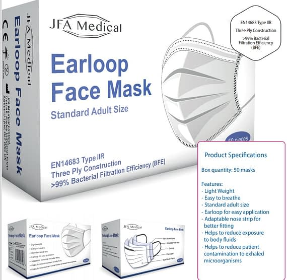 3Ply Medical Disposable Masks procedure face mask with ear loops is a 3ply disposable medical mask designed to cover the nose and mouth of medical professionals, preventing cross contamination and infection. This lightweight mask is disposable. However, its3ply construction enables the removal of condensation, while still providing a high level of protection. Comes as a box of 50