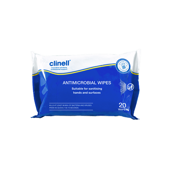 Clinell Antibacterial hand Wipes pack of 20 Clinell single use sanitising hand wipes can be used to disinfect hard surfaces and hands reduces the risk of microbial cross contamination kind on skin proven to kill at least 99.999% of germs 2 in 1 double action without the need for water suitable for home use