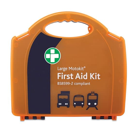 MotoKit BS8599-2 Large Travel first aid kit for Passenger VehiclesLarge variety of different first aid products Handy plastic carry case Guidance manual included Ideal for up to 16 passengers in a vehicle Individual items available to refill kit