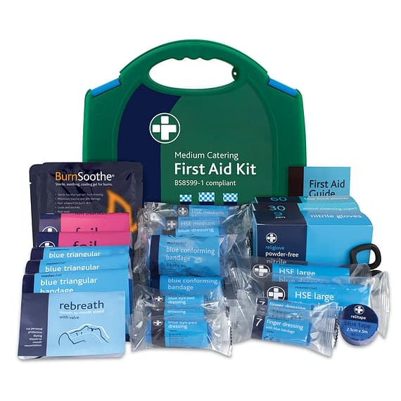 Medium Catering Kit in Integral Aura Box, LOW RISK 1 kit per 25-100 employees HIGH RISK 1 kit per 5-25 employees, used for the kitchen, pubs, café's and in the hospitality industry