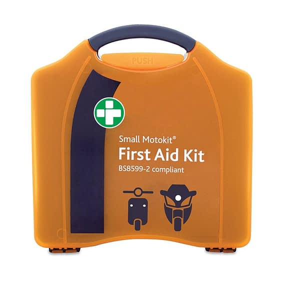 Car first aid kit BS8599-2 Small MotoKit for Passenger Vehicles Plastic carry case Small enough for a moped Essential items included Instruction guide for assistance Robust casing