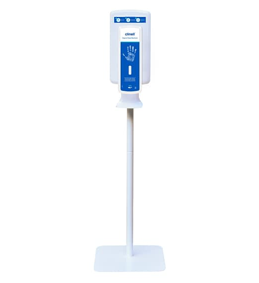 The Clinell Touchless-free standing Hand Disinfection dispenser is perfect for placement in a variety of high traffic locations.