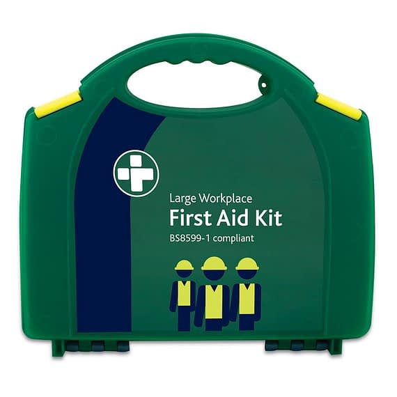 Large deluxe workplace BSI compliant First Aid Kit. Conforms to the BS-8599-1 British Standards specifications for First Aid Kits.