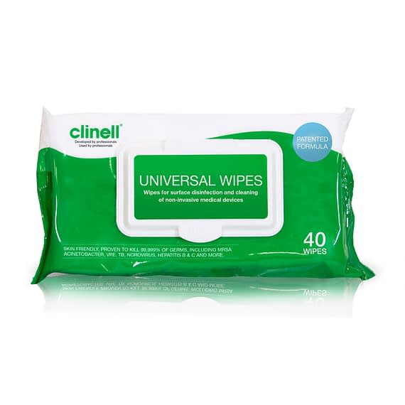 Universal surface Wipes are a single use disinfectant product, clinically proven for surface disinfection and cleaning of non-invasive medical devices. From disinfecting objects to wiping down hard surfaces and equipment, a Clinell universal wipe will kill at least 99.999%* of germs