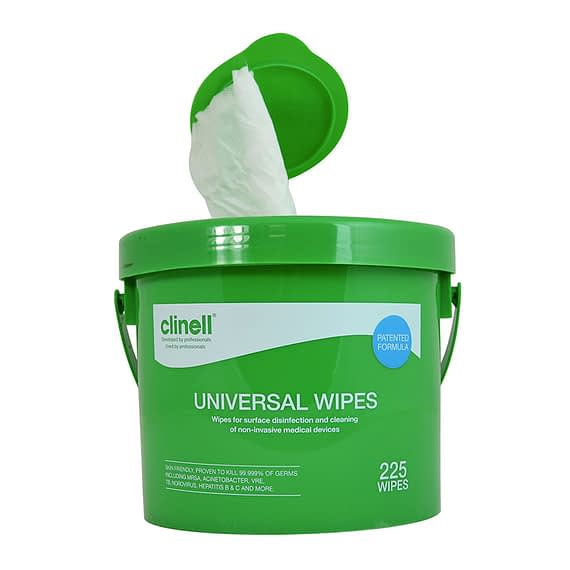 oclinell-universal-wipes-225-bucket surface disinfection wipe Antimicrobial Hand Wipes proven to kill at least 99.999% of germs, the formula remains gentle enough to be used on skins are ideal for the use at hme and work.