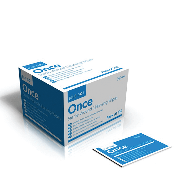 Sterile Saline Wipes (Box of 100) BlueDotOnce SterileSalineWipescan be used on broken skin to properly clean wounds. An essential item for all first aid kits thesewipesare impregnated with 0.9% sodium chloride solution. BlueDotOnceSterileSalinewipesare CE marked as a medical device