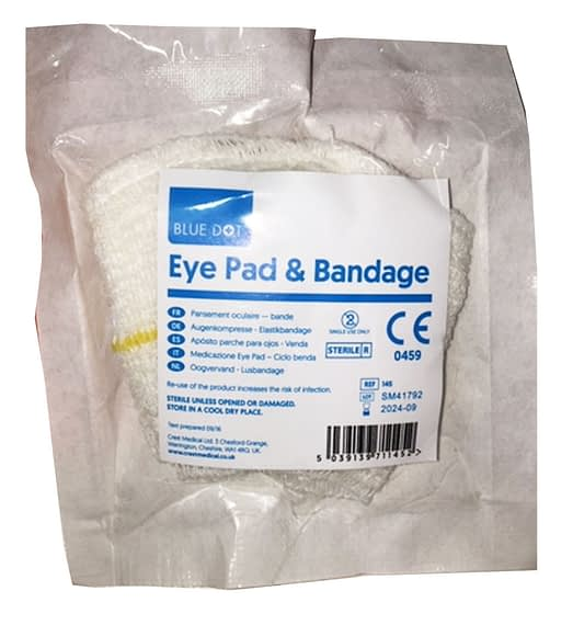Blue Dot HSE Eye Pad & Bandage Looped In compliance with the HSE, this is a sterile individually wrapped universal eye pad with a fast-edged conforming loop bandage.